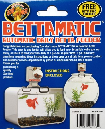 Zoo med bettamatic automatic betta feeder the aquarium for Betta fish feeder