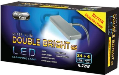 Aqua Zonic Super Slim Double Bright G2  LED Clamp Light Black 24+4 Bulb