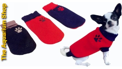 Dog Jumper - Red with Blue Paw  Medium 35cm