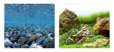 Seaview Aquarium Background Double Sided 45.7cm high - River Rock-Sea of Green