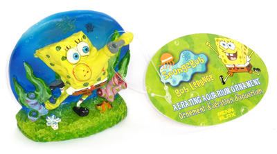 Penn-Plax Spongebob Squarepants Aerating Ornament Blowing Bubbles