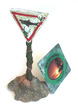 Water Works Street Sign Shark Crossing Aquarium Ornament
